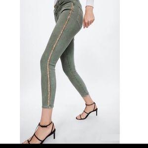 ZARA 1975 Jeans GREEN W/ GOLD GLITTER stripe